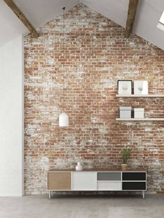 Absolutely love an aged brick/white wash brick to add lots of character White Washed Brick Exterior, Red Brick Exteriors, White Wash Brick, Grey Brick, Painted Brick Walls, Brick Accent Walls, Faux Brick Walls, White Brick Walls, Brick Feature Wall