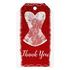 Glam Red & White Holiday Lingerie Shower Party Gift Tags - bridal shower gifts ideas wedding bride