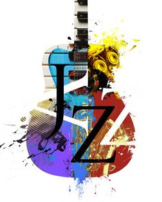 Free Shipping Under 10 Art Print Jazz Guitar Music by Inspireuart, $10.00