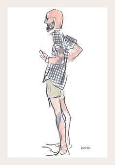 The international uniform: gingham shirt, khaki shorts, tattoos by Richard Haines