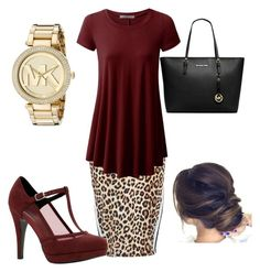 """""""Maroon and leopard... My two favorite things!"""" by danielle-ash92 on Polyvore featuring River Island, Call it SPRING and Michael Kors"""
