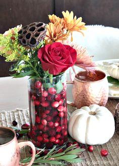 Fall flower arrangement using cranberries