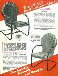 Interstate Metal Products, Co., 1940 vintage metal lawn chair brochure. www.midcenturymetalchairs.com
