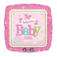 Welcome Baby Girl Square Foil Mylar Balloons - 17 Inch Girl Shower, Baby Shower, Lamaze Classes, Welcome Baby Girls, One Balloon, Baby Kicking, Mylar Balloons, Baby Arrival, Pregnant Mom