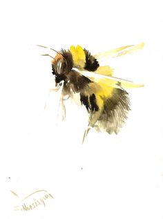 Bumblebee And Yellow Flowers Original Watercolor Painting 10 X 8 In Bee Lover Art Wildlife