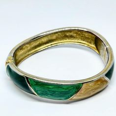 1980s Vintage Green and Cream Enamel Bangle with Silvertone Base