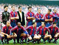 F. C. BARCELONA - Barcelona, España - Temporada 1996-97 - Vitor Baia, Popescu, Miguel Indurain (ciclista), Nadal, Luis Enrique, Guardiola y Abelardo; Ronaldo, Amunike, Ferrer, Sergi y Figo - F. C. BARCELONA 6 (Luis Enrique, Sergi, Contreras p.p., Ronaldo 2, Pizzi) A. D. RAYO VALLECANO 0 - 26/01/1997 - Liga de 1ª División, jornada 21 - Barcelona, Nou Camp - El Barcelona fue 2º en la Liga, con Bobby Robson de entrenador Fc Barcelona, Barcelona Football, Ronald Koeman, Classic Football Shirts, Vintage Football, Ronaldo, Football Team Pictures, Santiago Bernabeu, Champions League