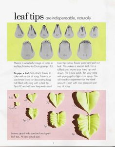 leaf tips 2 Cake Decorating Piping, Cake Decorating Techniques, Cake Decorating Tutorials, Cookie Decorating, Decorating Cakes, Icing Tips, Frosting Tips, Frosting Recipes, Icing Frosting