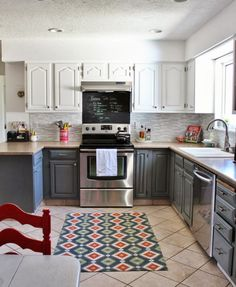 two-tone grey and white kitchen makeover, House For Five featured on Remodelaholic, oddly really like this color combo
