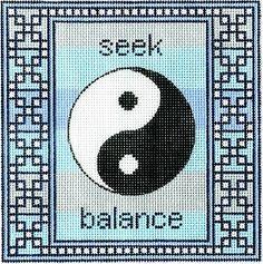 "Spiritual needlepoint - Yin Yang symbol, hand-painted, 7"" x 7"" on 13 mesh canvas"