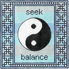 "Spiritual needlepoint - Yin Yang symbol, hand-painted, 7"" x 7"" on 13 mesh canvas"