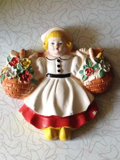 Chalkware Plaque Dutch Girl 1940s Hand Painted Vintage