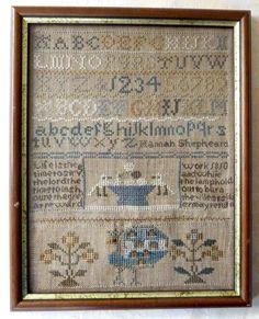 ANTIQUE GEORGIAN MINIATURE FRAMED SAMPLER HANNAH SHEPHEARD 1810 - PEACOCK