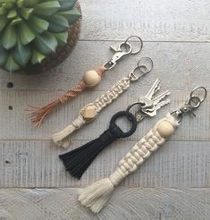 "161 Likes, 10 Comments - shannon heath (@shannonheathcreative) on Instagram: ""keychains for sale ✨✨ ~ leather twist with wooden ball $15 (SOLD) ~ rope weave with geo bead $15…"""
