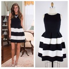 Cute black/white dress Sleeveless Cute Black/White dress. Zipper at the back. 68% Rayon/ 27% Nylon/ 5% Spandex. Dresses