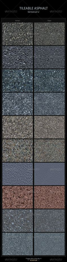 10 Tileable Asphalt Textures/Patterns #GraphicRiver This pack comes with 20…
