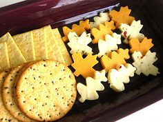 Autumn Leaf Cheese Platter for Thanksgiving - I have cute little cutters for this!