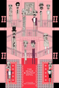"""6 colour, hand screened print inspired by the Wes Anderson film 'The Grand Budapest Hotel"""" by Conor Langton.   Limited edition of 170! 100 of these will be used for promotion purposes. 70 will go up for sale via the artist's big cartel site to cover printing costs! Print cost $40 + shipping. Print size 24″ x 36″ 10% discount code """"QUIXOTIC"""""""