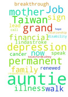 1.Have a permanent Job in Taiwan or US, - 1.Have a permanent Job in Taiwan or US, whenever God will lead me 2. My husband to have compassion, responsibility on our relationship, to communicate and call me now, I know God will speak to him 3. Healing for my: Mother Patricia,Orthopedic Disability for her to walk again, Brother Miracle Samuel,Unspoken illness, Grand Father Telesford,Kidney Problems, Auncle Jeffrey,Epilepsy and Diabetes,  Auntie Remy,Lung Cancer, Auntie Linda,Stroke and…