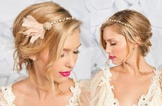 Bridal Hair Accessories: Bejeweled Bride Wedding Accessories With Feather Hair Comb