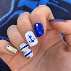 ️Nautical mani by @chlorineandpolish  Brooke is using our Anchor Nail Decals and Straight Nail Vinyls found at: snailvinyls.com