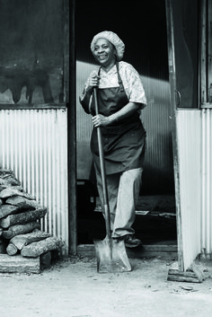Pit master Helen Turner of Helen's Bar-B-Q in Brownsville, Tennessee.