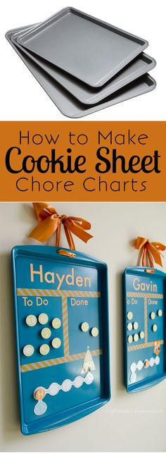 DIY Cookie Sheet Chore Charts is part of Kids Crafts Organization Chore Charts - Turn cookie sheets into chore charts! These DIY Cookie Sheet Chore charts are a great way to motivate kids to do chores and help around the house Kids Crafts, Craft Projects, Family Crafts, Baby Crafts, Easter Crafts, Project Ideas, Chores For Kids, Activities For Kids, Chore List For Kids
