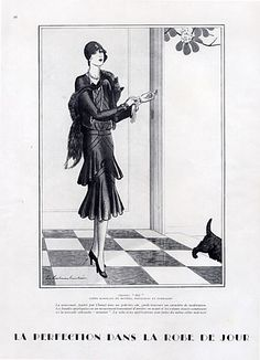 Chanel Black Dress, 1928.  Does anybody know if this 1928 Chanel dress design was realized and exists anywhere in a museum or if there is a period photograph of the realized dress? Is it an unrealized design?