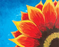 Social Artworking Canvas Painting Design - Red Sunflower