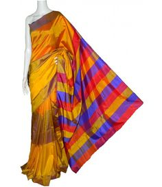 Yellow Handloom Block Printed Murshidabad Silk Saree