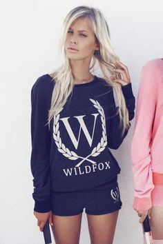 Wildfox-- I'm not really into labels but I love this hoodie for some reason (: