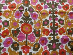 Retro vintage fabric yellow cherry