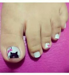 Uñas Decoradas Para Pies Foot Nails Uñas Color Blanco Negro Lazo