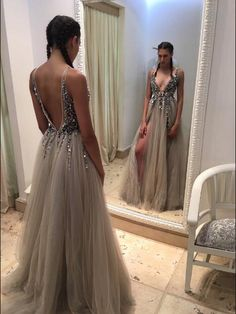 Illusion Evening Dress,Sexy Deep V Neck Prom Dress,Tulle Prom Dress,Sleeveless Formal Dress,Slit Side Prom Dress With Beaded