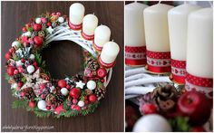 Christmas Advent Wreath, Christmas Table Decorations, Christmas Time, Christmas Crafts, Merry Christmas, Holiday Decor, Advent Candles, Candle Centerpieces, Christmas Inspiration