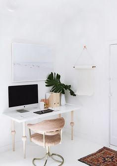 Looking to give your home office a quick and affordable update? Blogger Sarah Sherman Samuels gave her simple white desk a stylish new look by replacing the legs with pale-pink statement wood...