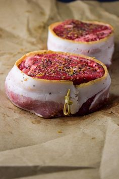 Pan-seared filet mignon wrapped in crispy bacon and topped with homemade truffle butter. Pan Seared Filet Mignon, Filet Mignon Steak, Bacon Wrapped Filet, Cooking Risotto, Homemade Truffles, Quirky Cooking, Truffle Butter, Entree Recipes, Butter Recipe