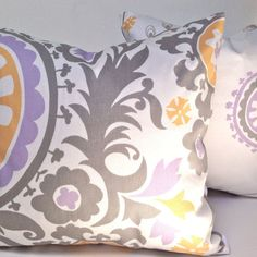 """Bohemian Throw Pillow Cover - Accent Pillow - Suzani Lavender Mustard and Gray on White  - 18"""" x 18"""" or Various Sizes"""