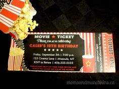 Drive-In Movie Birthday Party Invitation