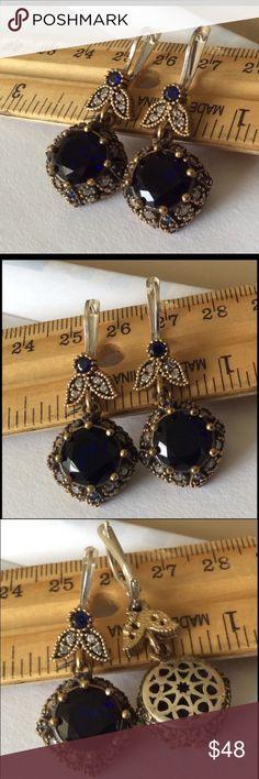 """Sterling Silver Sapphire Topaz Earrings Beautiful elegant 925 Sterlring Silver and bronze, Sapphire Topaz Earrings 10.06 Grams, head size is 1"""". Turkish style Jewelry Earrings"""