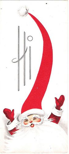 Vintage Pointy Hat Santa Christmas Card 1960 by Peacewytch, via Flickr
