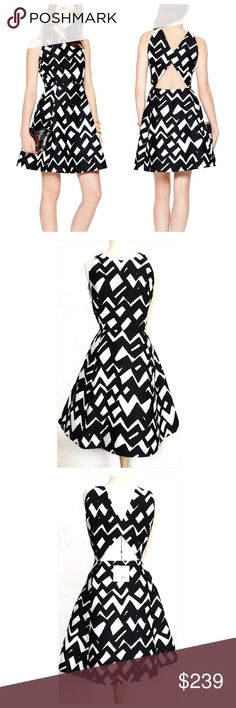 """Host PickKate Spade Chevron Alani Dress Weekend Warrior Host Pick by Alexandria @withalexandria 8/26/16Kate Spade Madison Avenue Collection Alani fit and flare dress with a bold chevron pattern.  100 % Polyester.  Dry clean only.  Measures about 39"""" from shoulder to hem, 19"""" across the armpits and 15"""" across the waist.  Sleeveless, hidden side zipper, cut-out back.  No trades. kate spade Dresses Mini"""