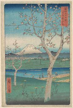 View of Mount Fuji from Koshigaya, Province of Musashi (Musashi, Koshigaya Zai); Utagawa Hiroshige (1797–1858)