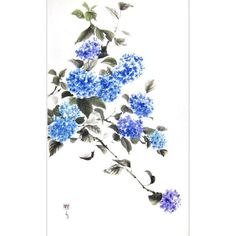 Ink Painting Japanese art Ink art Asian art Sumi-e Suibokuga Rice... ($111) ❤ liked on Polyvore featuring home, home decor, wall art, blue painting, rice paper painting, blue home accessories, ink painting and blue home decor