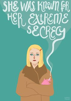 "Margot Tenenbaum (The Royal Tenenbaums, by Wes Anderson) illustration. ""She was known for her extreme secrecy"" Print available on etsy: https://www.etsy.com/listing/229727998/ilustracion-margot-tenenbaum"