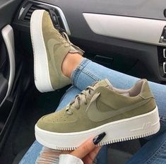 Swarovski Nike Air Force 1 Sage Low Women Casual Sneakers Made with SWAROVSKI Crystals - Olive - These boots r made 4 walking - Sneaker Outfits Women, Sneakers Fashion Outfits, Nike Fashion, Fashion Shoes, Cheap Fashion, Nike Outfits, Fashion Men, Fashion Brands, Fashion Tips