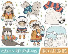 Digital Clipart & Paper by LePetiteMarket on Etsy Brand Identity Design, Logo Design, Branding Design, Corporate Branding, Family Clipart, Bear Watercolor, Eskimo, Arctic Animals, Personal Logo