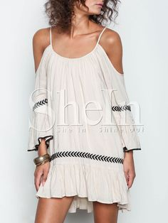 Apricot Off The Shoulder Spaghetti Strap Embroidered Dress 16.99