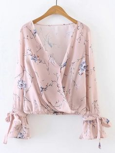 Buy Pink Floral Print V Neck Wrap Blouse With Bow from abaday.com, FREE shipping Worldwide - Fashion Clothing, Latest Street Fashion At Abaday.com Kimono Top, Lace Tops, Fashion, Moda, Fasion, Lace Peplum Tops