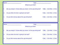 reducing test anxiety questionnaire from http://www.amodernteacher.com